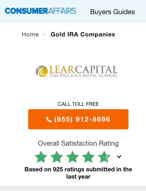 Consumer Affairs Rating for Lear Capital