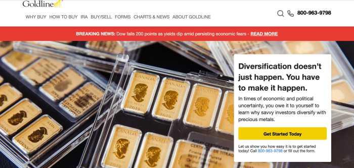 Goldline home page