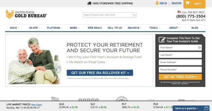 US Gold Bureau Homepage