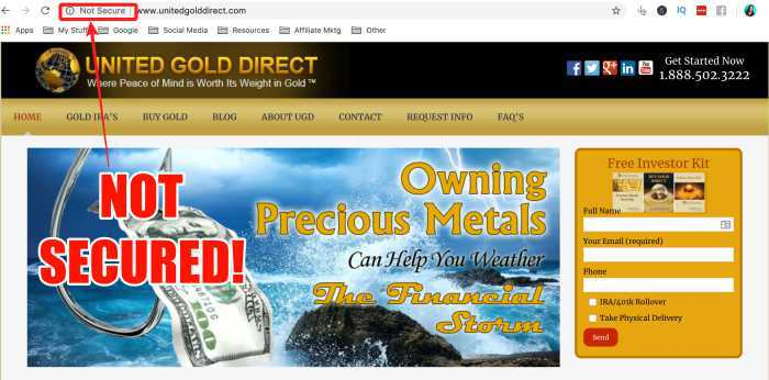 United Gold Direct website is not secured